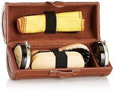 New Shoe Cleaning Care Kit - Brown Leatherette Barrel Case ideal for travel