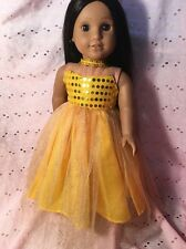 "Princess Yellow Sparkly Costume Fits 18"" American Journey Girl Doll Clothes"