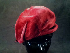 Vintage Burgundy Faux Fur Beret by Henriette Modes -- Made in France -- 21 1/2""