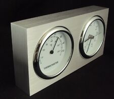 Desk Clock/Thermometer/Paper Weight ~ Analog Dials In Aluminum Frame ~ CL-500D