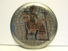 Vintage Egyptian Egypt Tin & Copper Etched Brass Hammered Plate Wall Hanging