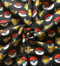 Pokemon Pikachu Black Fabric Polycotton Sewing Craft Material - FQ 50cm x 47cm