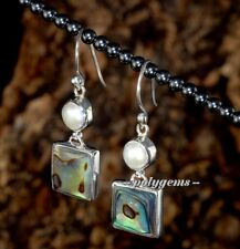 COLORFUL ABALONE SHELL PEARL 925 SILVER SQUARE EARRINGS 25MM