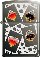 Zippo Card Suits on Black Ice Windproof Lighter NEW RARE