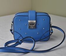 MCM Tile Blue Claudia Studded Crossbody