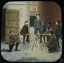 Glass Magic lantern slide VICTORIAN BOYS PLAYING ON SEE SAW C1890 SOCIAL HISTORY
