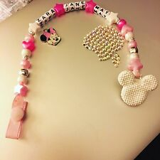 white Dummy Clip Dummy Chain Minnie Mouse Bling dummy clip pacifier holder