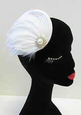 White Ostrich Feather Fascinator Silver Headpiece Hair Clip Vintage 1920s U97