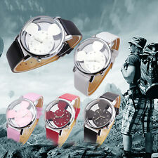 Classical Child Watch Mickey Mouse Transparent Hollow Dial Leather Dress watch