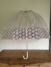 VTG 60's CLEAR VINYL DOME UMBRELLA RED WHITE BLUE STARS JULY 4TH WHITE HANDLE
