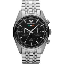 Emporio Armani AR5983 Sportivo Black Stainless Steel Chrono Watch Nuevo
