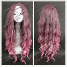 Women Charming Long Wavy Pink/Brown Mixed Anime Cosplay Hair Full Fancy Wigs+Cap