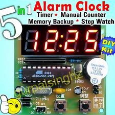 Advanced 5in1 DIY Kit Digital LED Alarm Clock Timer Stopwatch Backup AT89C2051