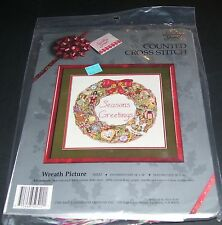 "COUNTED CROSS STITCH KIT SEASONS GREETINGS WREATH CANDAMAR NIP 14X14"" MCMXC OOP"