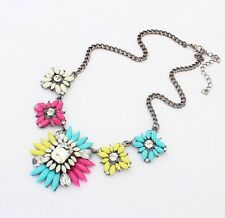 Bohemian Style Fashion Colours Resin Crystal Flower Collar Statement Necklace