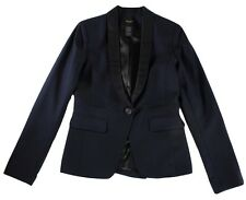 "SMYTHE LES VESTES NAVY BLUE VIRGIN WOOL ""SILK TRIM"" BLAZER / JACKET - 6"