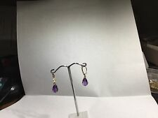 14kt Gold Leverback Earrings w Fine Amethyst Faceted Drop SOLID 14kt Gold