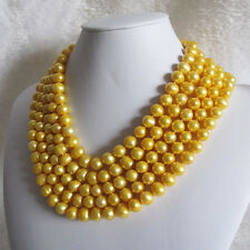 100 inches 9-11mm Golden Freshwater Pearl Necklace Strand Jewelry UK