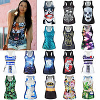 Punk Girls 3D Printed Tank Top Vest Blouse Gothic Womens Clubwear Party T-Shirt