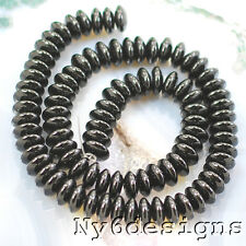 """10x4mm Natural Black Onyx Disc Beads 15"""" (ON93)b for DIY JEWELRY DESIGNER"""