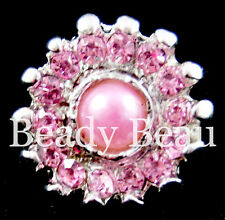 PINK CRYSTAL FAUX PEARL BUTTON WEDDING INVITATION TIARA MAKING CARD EMBELISHMENT