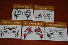 Lot Of 5pc Self Adhesive Face Art Decor for Halloween Free Shipping
