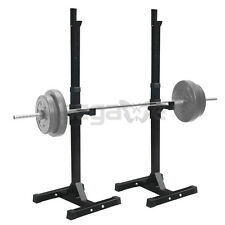 SQUAT STANDS RACK STEEL SOLID ADJUSTABLE BARBELL FREE PRESS GYM WORKOUT USA SHIP