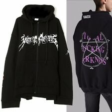 New Vetements Total Fking Darkness Print Oversized Zip Up Hoodie Hooded Jacket