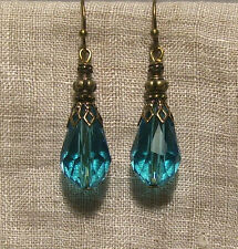 BRASS FILIGREE AQUA CRYSTAL TEAR DROP EARRINGS RENAISSANCE VICTORIAN EDWARDIAN