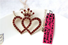 Betsey Johnson Fashion Necklace Cute heart Crystal Pendant Sweater Chain #113