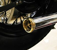 "BRASS AFTERBURNER EXHAUST TIP 1-3/4""PIPES HARLEY TRIUMPH XS650 BOBBER CHOPPER EA"