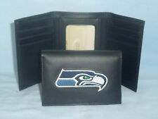 SEATTLE SEAHAWKS   embroidered  Leather TriFold Wallet    NEW    black