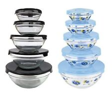 10 Pcs Glass Lunch Bowls - Glass Food Storage Containers Set With Lids - 2 Pack