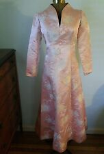 Vtg Asian Princess Evening Gown Floral Silk Tapestry Satin Brocade Damask Dress