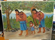 JAUN SISAY (1921-1989) TABLEAU SCENE ORIGINAL OIL ON CANVAS FOLK PAINTING