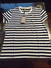 New Authentic Burberry Sailor Striped Navy Blue Knight Logo T-shirt L M $175