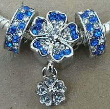 September Birthstone Sapphire Flower Rhinestone European Spacer Charm Beads Set