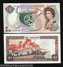 ISLE OF MAN UK 10 POUNDS P42B 1983 QUEEN MAP CASTLE RARE UNC CURRENCY MONEY NOTE