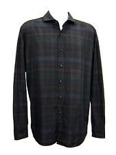 BOSS Hugo Boss Blue Green Brown Shirt Plaid Button Front Long Sleeve Men Size 2X