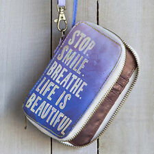 NATURAL LIFE STOP SMILE BREATHE TARP IPHONE PURPLE PHONE CASE WRISTLET ID WALLET