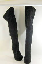 "BLACKS  5"" HIGH wedge heel  1.5"" PLATFORM ROUND TOE sexy knee boot  Size.  8.5"