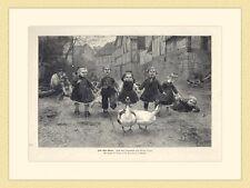 Lied ohne Worte Gänse Kinder Ölgemälde von Adolf Lins HOLZSTICH II 881