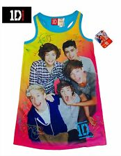 NWT SZ 7/8 GIRL'S ONE DIRECTION PAJAMA GOWN PINK BLUE, NIALL, HARRY LOUIS 1D NEW