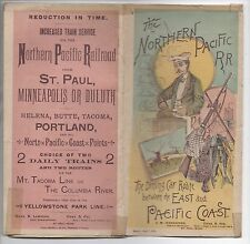 Rare 1888 Northern Pacific Railroad Color Brochure w/ Large Folding Map