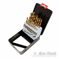 AM-TECH 19 TITANIUM COATED DRILL BIT SET METAL HOLDER BOX SIZES HSS 1-10mm F1140