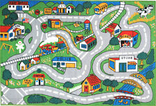 "4'3""x6'6""  Rug  Kid's  Play  Road  Map Street  Country Driving Time  New 5x7"