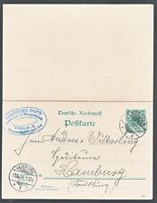 GERMANY, 1900. Paid Reply Card Mi P38, Unservered, Berlin - Hamburg