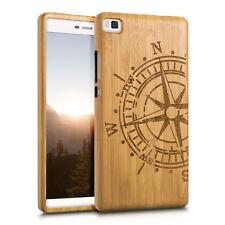 kwmobile Holz Schutz Hülle für Huawei P8 Kompass Bambusholz Natur Hellbraun