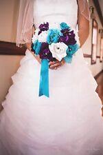 "10""Round rose Bouquet-Turquoise/Malibu Purple White.Wedding silk flower"