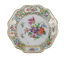 Dresden Carl Thieme Hand Painted Floral Reticulated Scalloped Rim Dish, c1900